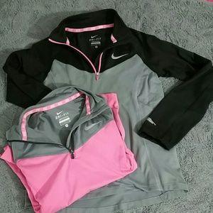 Girls 2 Nike dri fit half zip sz S